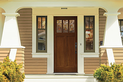 Accent your entry with the right decorative glass the for Therma tru classic craft american style collection