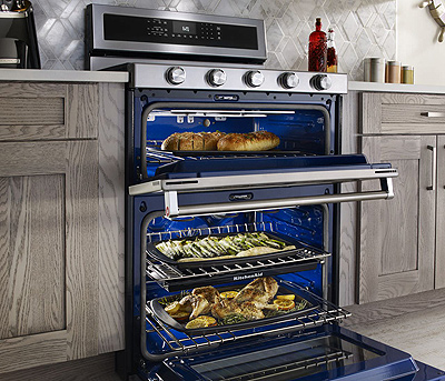 KitchenAid 30-Inch 5 Burner Dual Fuel Double Oven Convection Range