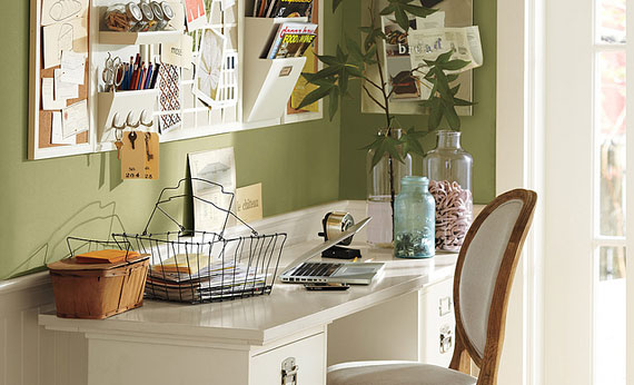 This Home Office Features An Eye Catching Green Called Jalapeno Pepper From  Benjamin Moore®. In Addition, The Tidy Desk And Decorative Wall  Organization ...