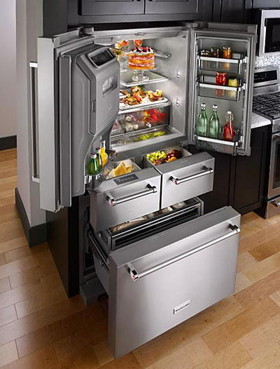 "KitchenAid 25.8 Cu. Ft. 36"" Multi-Door Freestanding Refrigerator with Platinum Interior"
