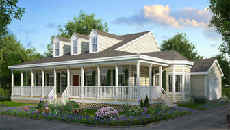this one story country home features a wraparound porch - Home Porch Design