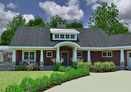 green one-story Craftsman Cottage House Plan