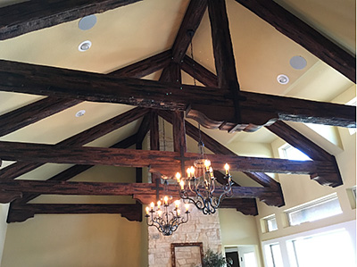How to design with overhead beams the house designers for Fypon wood beams