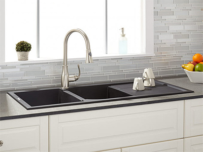 "Signature Hardware 46"" Tansi Double-Bowl Drop-In Sink with Drain Board"