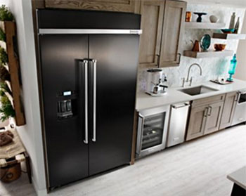 KitchenAid Black Stainless Built-In Side by Side Refrigerator with PrintShield
