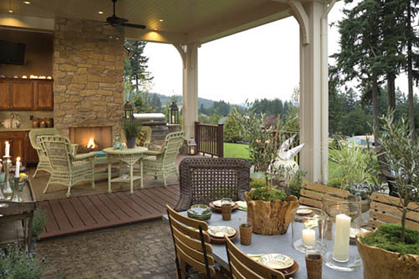 Sizzling outdoor kitchen designs the house designers - Covered outdoor living spaces ...