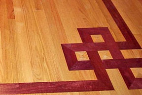 Adding special design elements to your wood floor the for Purple heart flooring