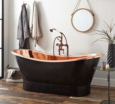 "Signature Hardware 70"" Thaine Antique Black Copper Double-Slipper Pedestal Tub"