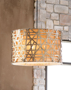 basketweave shade made from silver leaf metal strips