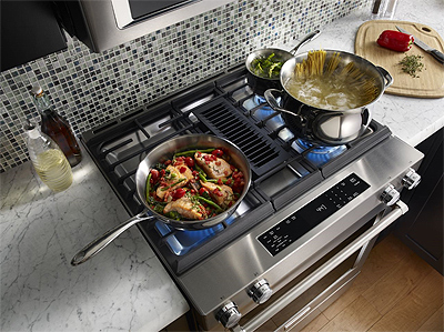 KitchenAid Dual Fuel Downdraft Slide-In Range