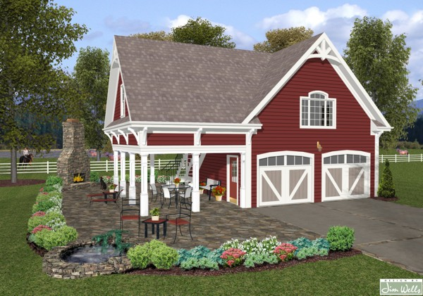 Country garage plan the house designers for Single story garage apartment