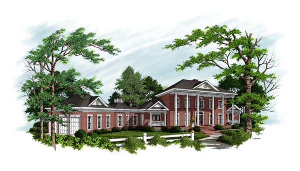 HomeDesignsbyBruno.com -Brick Colonial home plan