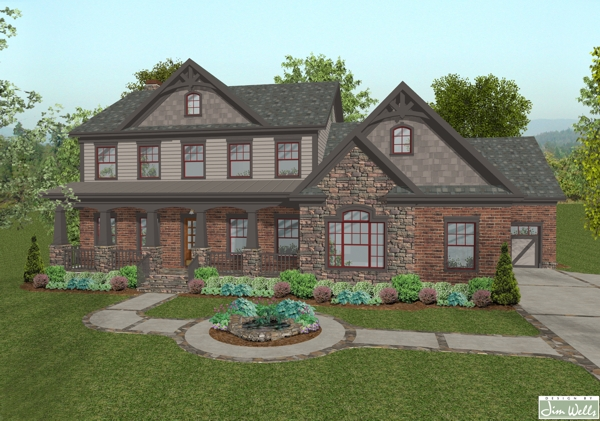 A2610 old world brown front rendering r the house designers for Old world house plans