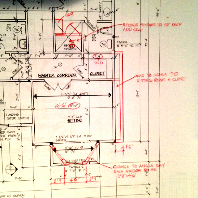 red-lined house blueprint
