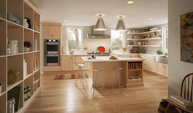 KraftMaid Light and Timeless Kitchen with Open Shelves