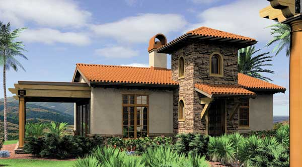 A beautiful small home, the Rosabella house plan comes in at just under 1,000 square feet, and has the charm of a Spanish style home.