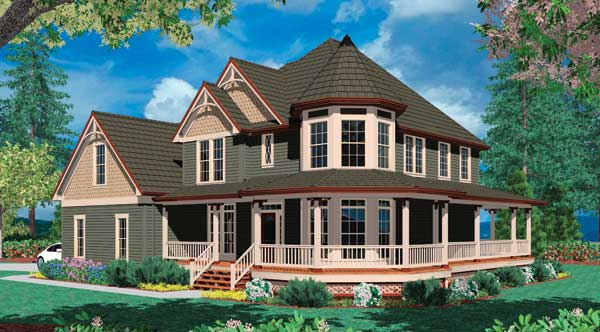 The Kensington house plan is a beautiful and ornate Victorian home that features a giant wraparound porch and ornate dormers.