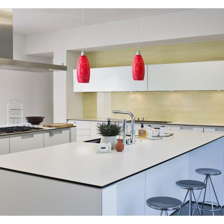 Best from the International Builders' Show -- LAMPS PLUS Possini Euro Strada Red Art Glass LED Mini Pendant Light