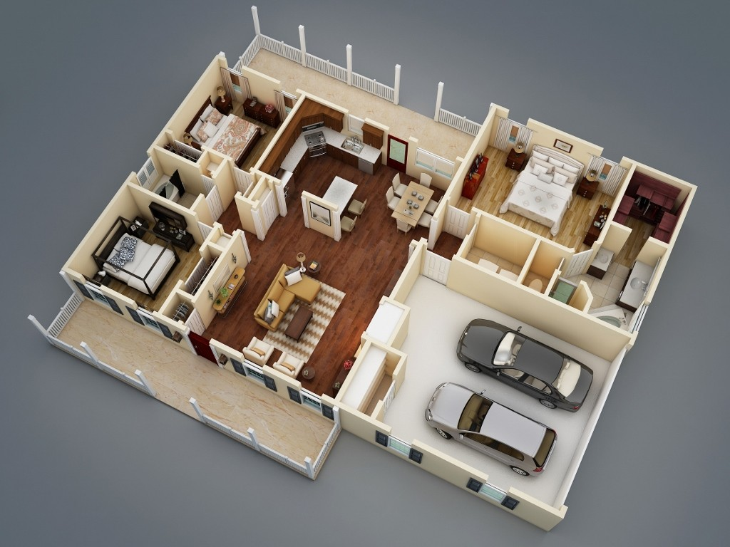 What makes a split bedroom floor plan ideal the house for One floor house design plans 3d
