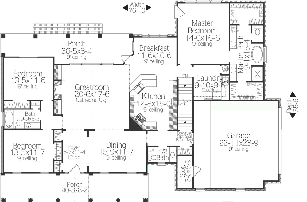 split bedroom floor plan