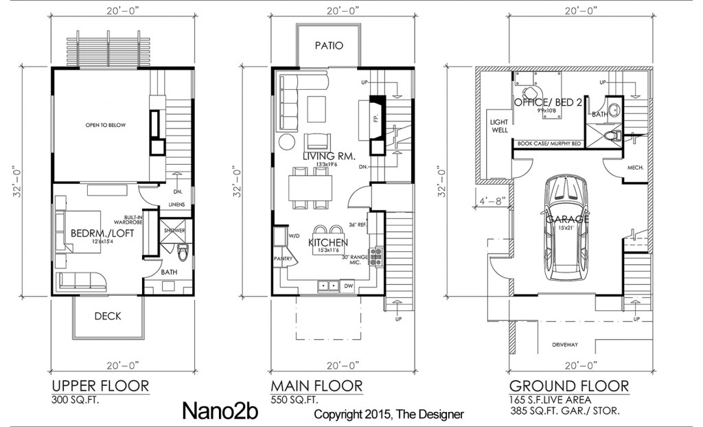 Modern affordable 3 story residential designs the Townhouse layout 3 bedrooms