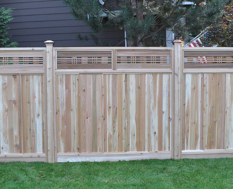 Red cedar fencing with decorative top panels