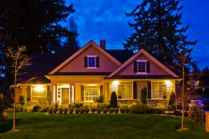 home with security lighting