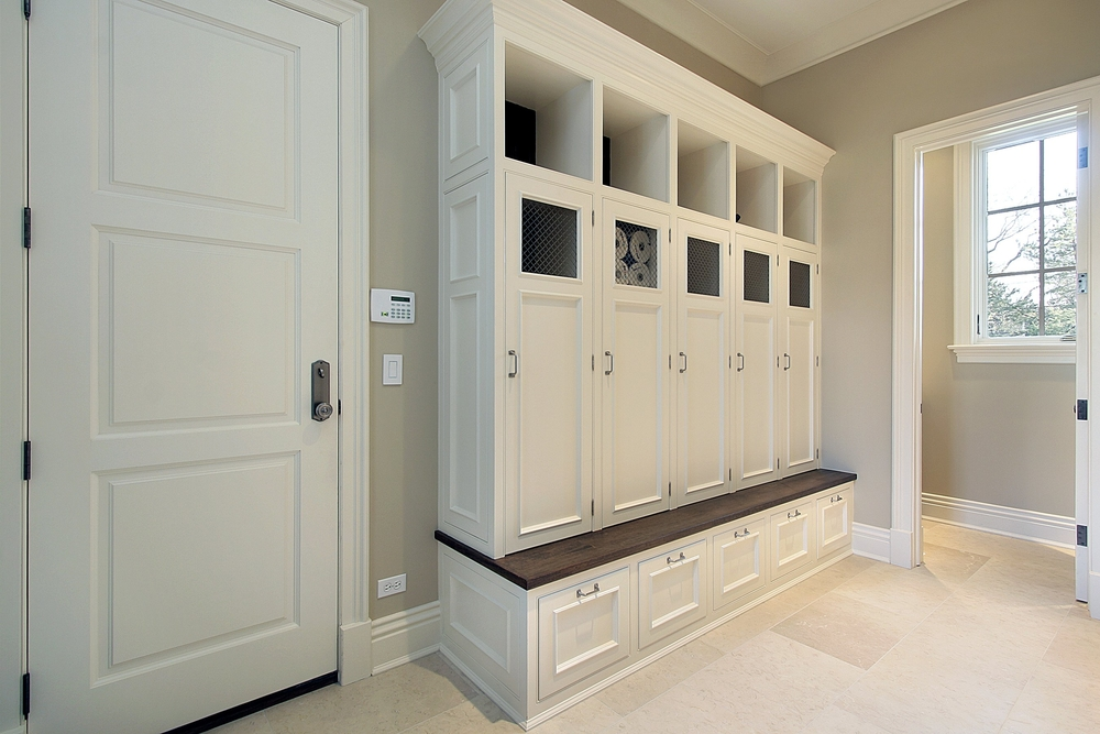 family mudroom with lockers