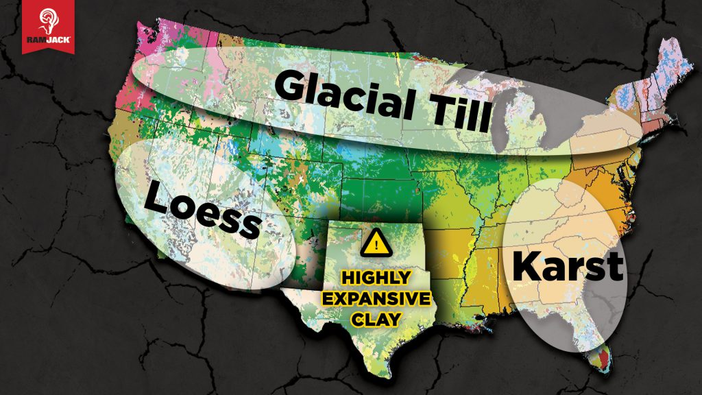 United States map showing soil conditions: Glacial Till across the northern states, Loess in the Southwest, Karst in the Southeast, and Hightly Expansive Clay in Texas and Oklahoma