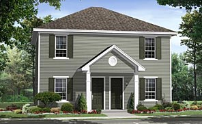 Each Unit in This Super Affordable Plan Has an Eat-in Kitchen, Living Room, and Two Bedrooms