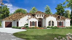 A Luxury Four-Bedroom House Plan with Mediterranean Style Perfect for Sunny Locations