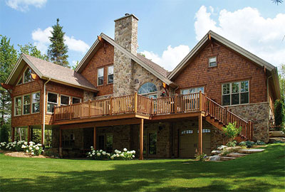 Latest trends in deck designs the house designers for Log cabin floor plans with walkout basement