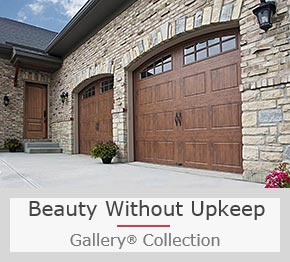 A Steel Garage Door with Convincing Faux Wood Finish Option