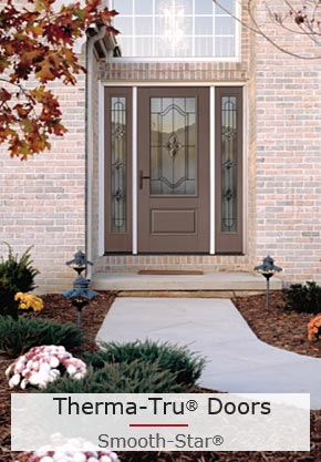 An Impact-Rated Entry Door with Beautiful 3/4 Doorlite and Two Sidelites with Laminated Glass