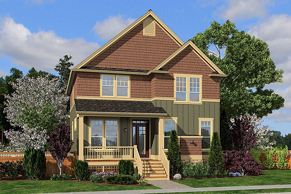 A Two-Story Craftsman-Style Home with Four Bedrooms and a Den in 2,155 Square Feet