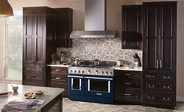 A Large Double-Oven Range with Six Burners and a Grill in a Deep Blue Finish