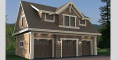 3 Car Garage Plan with Loft