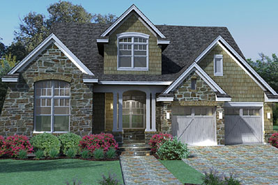 Beautiful stone veneer and brick the house designers - Houses with stone veneer facades ...