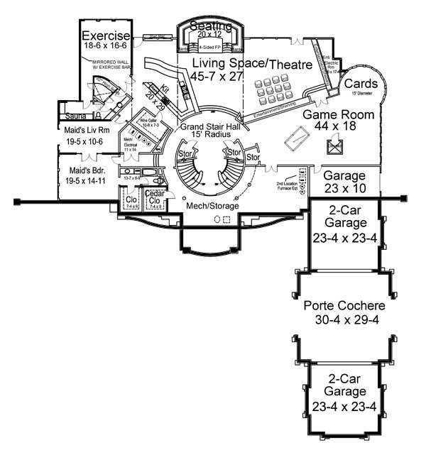 Breakers 6047 5 bedrooms and 5 baths the house designers for Custom home floor plans with basement