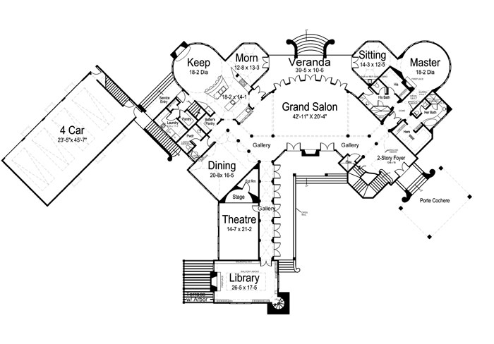 1st Floor Plan image of Chateau Novella House Plan