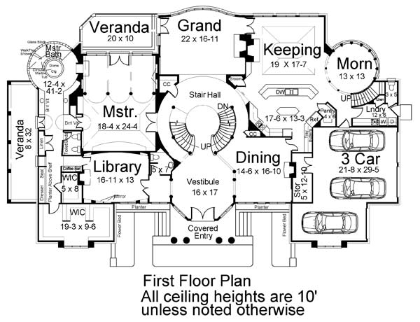 1st Floor Plan image of Park Place House Plan