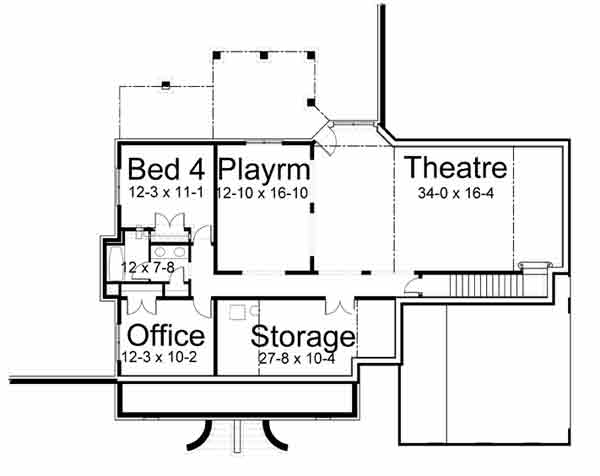 basement floor plan image of harthaven place house plan