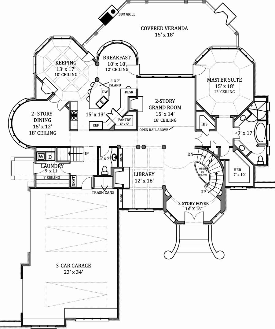 Hennessey house 7805 4 bedrooms and 4 baths the house designers - Luxury home designs and floor plans ...