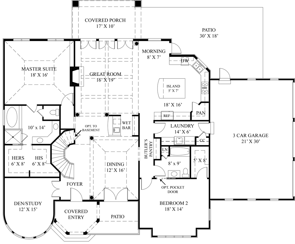 European house plan with two master suites for House plans with 3 master suites