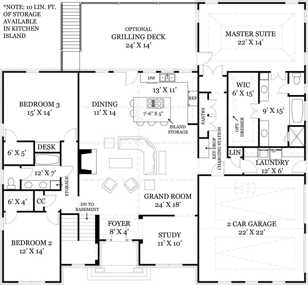Mystic lane 1850 3 bedrooms and 2 5 baths the house designers - Single story house plans with basement concept ...