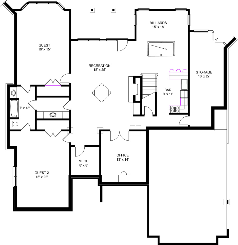 westdrake 6158 4 bedrooms and 4 5 baths the house designers basement floor plan
