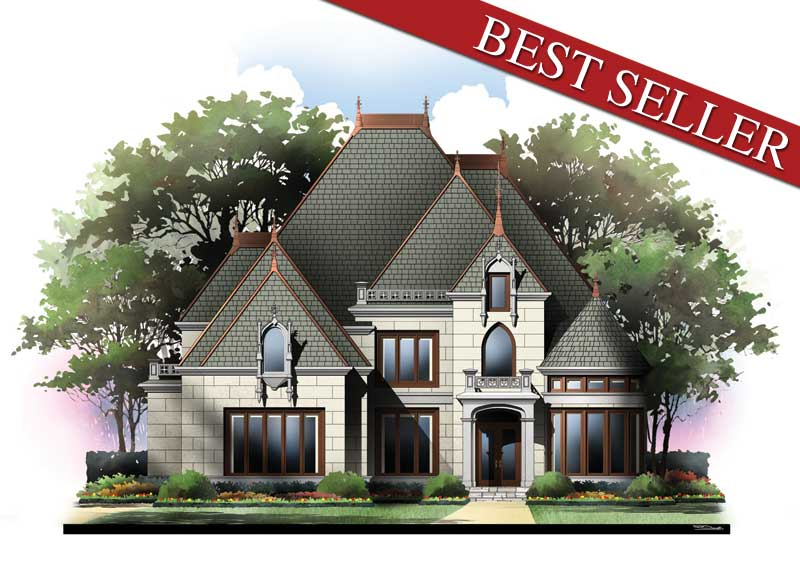 Blanchard 6874 4 bedrooms and 3 baths the house designers for Castle type house plans