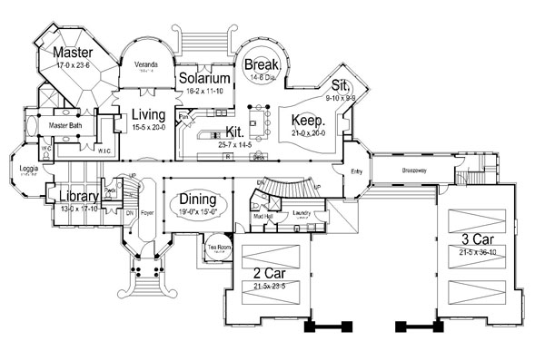 Chateaubriand 6040 6 bedrooms and 8 baths the house designers - Large victorian house plans ...