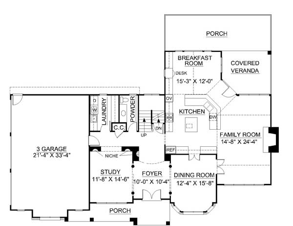 1st Floor Plan image of Galloway House Plan