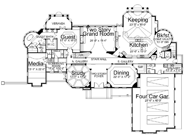 Manderston estate 6147 5 bedrooms and 5 5 baths the for Estate home floor plans